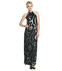 MSK® Sleeveless Necklace Halter Gold Print Dress