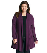 Notations® Plus Size Open Front Cardigan