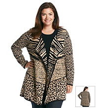 Notations® Plus Size Animal Print Open Front Cardigan