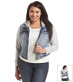 Wallflower® Plus Size Hooded Denim Jacket With Sweater Knit Sleeves