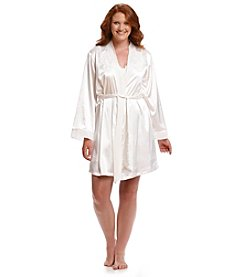 Linea Donatella® Plus Size Debutante Dot Short Wrap Robe - Ivory