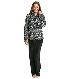 Jasmine Rose® Zip-Top Fleece Pajama Set - Black Zebra