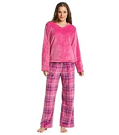 Jasmine Rose® V-Neck Pajama Set - Berry Plaid