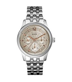 Guess Silvertone Masculine Dress Watch with a Touch of Color