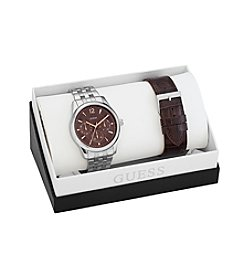 GUESS Silvertone/Brown Masculine Dress Set with a Touch of Color Watch