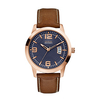 Guess Men's Blue And Brown Rose Goldtone Classic Dress Watch