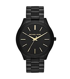 Michael Kors® Mid-Size Black IP Slim Runway Three-Hand Watch
