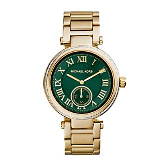 Michael Kors Goldtone Skylar Watch with an Emerald Green Dia