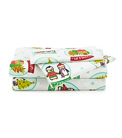 LivingQuarters Heavy-Weight Snowglobe Flannel Sheet Set
