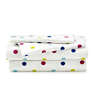 LivingQuarters Heavy-Weight Polka Dots Flannel Sheet Set