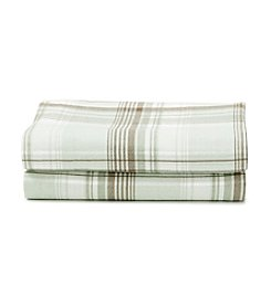 LivingQuarters Heavy-Weight Green Plaid Flannel Sheet Set