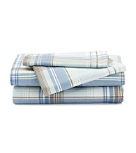 LivingQuarters Heavy-Weight Blue Plaid Flannel Sheet Set