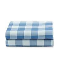 LivingQuarters Heavy-Weight Blue Buffalo Plaid Flannel Sheet Set