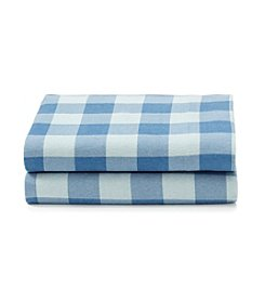 LivingQuarters Heavy-Weight Blue Buffalo Plaid Flannel Sheet Set