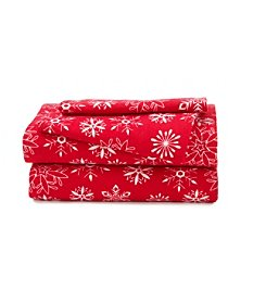LivingQuarters Heavy-Weight Red Snowflakes Flannel Sheet Set