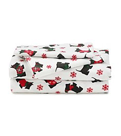 LivingQuarters Heavy-Weight Scottie Dogs Flannel Sheet Set