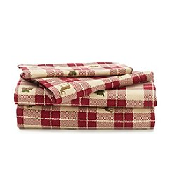 LivingQuarters Heavy-Weight Lodge Patch Flannel Sheet Set