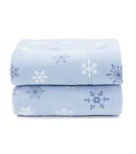 LivingQuarters Blue Snowflake Fleece Sheet Set