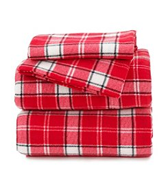 LivingQuarters Red and White Plaid Fleece Sheet Set