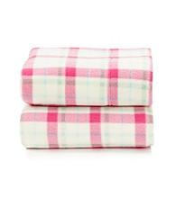 LivingQuarters Pink Plaid Fleece Sheet Set