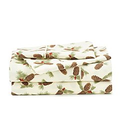 LivingQuarters Cold-Weather Performance Pine Cones Microfiber Sheet Set