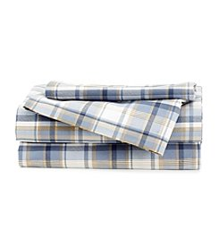 LivingQuarters Cold-Weather Performance Blue Plaid Microfiber Sheet Set