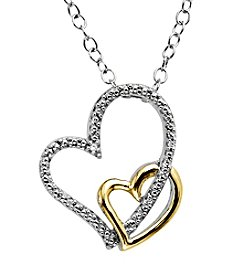 Diamond .01 ct. t.w. Heart Pendant Sterling Silver/14K Gold
