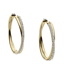 Michael Kors® Goldtone Clear Pave Crossover Hoop Earrings