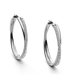 Michael Kors® Silvertone Clear Pave Crossover Hoop Earrings