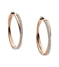 Michael Kors® Rose Goldtone Clear Pave Crossover Hoop Earrings