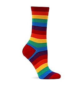Hot Sox Red Bold Stripe Crew Socks