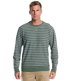 Paradise Collection® Men's Long Sleeve Reversed French Terry Striped Crew Neck Shirt