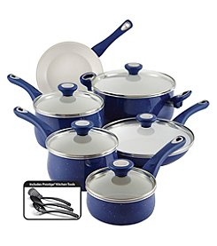Farberware® New Traditions 14-pc. Blue Speckled Aluminum Nonstick Cookware Set