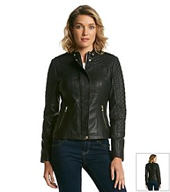 GUESS Faux Leather Quilted Houndstooth Scuba Jacket