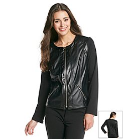 Notations® Petites' Faux Leather And Knit Zip Front Jacket