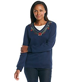 Breckenridge® Layered Look Fleece Pullover - Festive Foliage