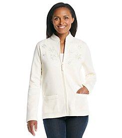Breckenridge® Mandarin Collar Fleece Cardigan - Dazzling Snowflakes