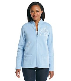 Breckenridge® Mandarin Collar Fleece Cardigan - Northern Scene