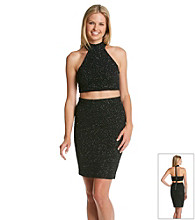 City Triangles® Halter Two Piece Glitter Dress