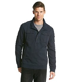 DKNY JEANS® Men's Mockneck 1/4 Buttondown Long Sleeve Pullover