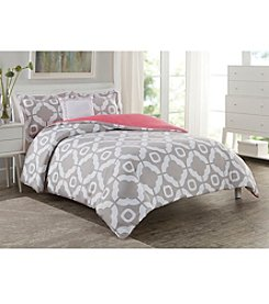 LivingQuarters Loft Grey Geometric Print 4-pc. Duvet Set