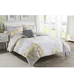 LivingQuarters Loft Yellow Floral 4-pc. Duvet Set