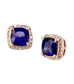 Effy® .16 ct. t.w. Diamond & 2.28 ct. t.w. Manufactured Diffused Sapphire Earrings in 14K Rose Gold
