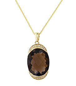 Effy® .09 ct. t.w. Diamond & 12.54 ct. t.w. Smoky Quartz Pendant in 14K Gold
