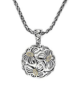 Effy® Balissima .04 ct. t.w. Diamond Floral Ball Pendant in Sterling Silver/18K Gold