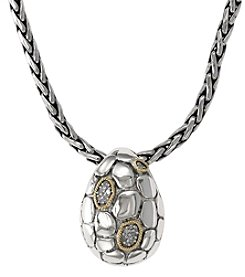 Effy® Balissima .03 ct. t.w. Diamond Pebbled Pendant in Sterling Silver/18K Gold