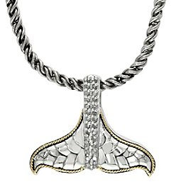 Effy® Balissima .12 ct. t.w. Diamond Whaletail Pendant in Sterling Silver/18K Gold