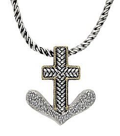 Effy® Balissima 0.16 ct. t.w. Diamond Anchor Pendant Necklace in Sterling Silver/18K Gold