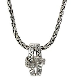 Effy® Balissima 0.14 ct. t.w. Diamond Knot Pendant Necklace in Sterling Silver