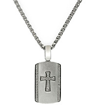 Effy® Balissima Men's 0.20 ct. t.w. Diamond Cross Dog Tag Pendant Necklace in Sterling Silver